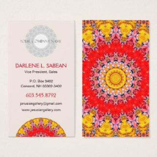カラフルで詳しく赤くおよび黄色の曼荼羅 名刺