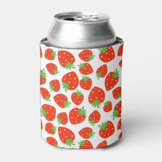 カラフルで赤いいちごパターン 缶クーラー