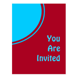 カラフルで赤いターコイズのレトロのパーティーの招待 ポストカード