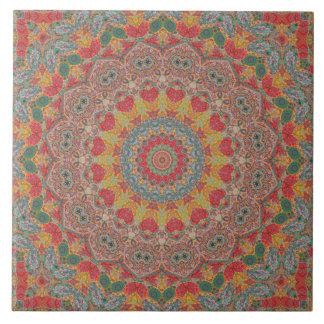 カラフルで赤い金ゴールドの青い曼荼羅の万華鏡のように千変万化するパターン タイル