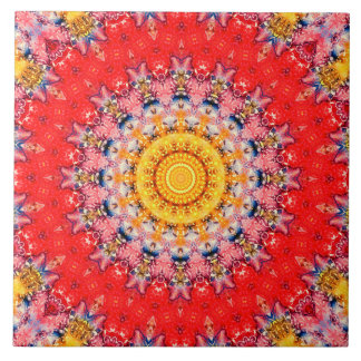 カラフルで赤くおよび黄色のバレンタインデーの曼荼羅 タイル