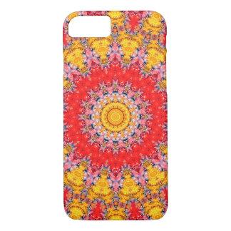 カラフルで赤くおよび黄色の曼荼羅の万華鏡のように千変万化するパターン iPhone 8/7ケース