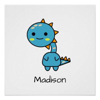 カラフルで青いかわいいの漫画の恐竜 ポスター