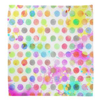 カラフルで鮮やかな水彩画は水玉模様をはね飛ばします バンダナ