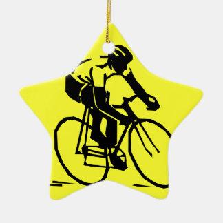 カラフルで黄色いバイクの自転車 セラミックオーナメント