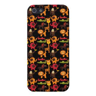 カラフルなおもしろいのかわいいジャングルの村のサファリの動物園動物 iPhone 5 カバー