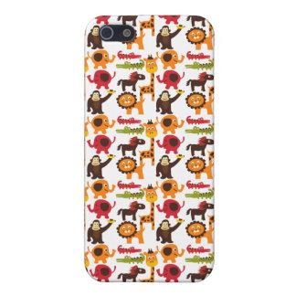 カラフルなおもしろいのかわいいジャングルの村のサファリの動物園動物 iPhone 5 ケース