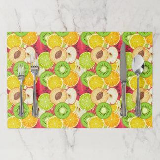 カラフルなおもしろいのフルーツパターン ペーパーランチョンマット