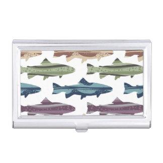 カラフルなおもしろいのマスの魚パターン 名刺入れ