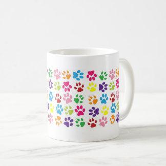 カラフルなおもしろい犬猫のPawprintsのコーヒー・マグ コーヒーマグカップ