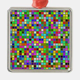 カラフルながっしりしたオリーブ色の正方形はパターンをタイルを張ります メタルオーナメント