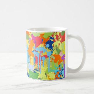 カラフルなしぶきのデザイン コーヒーマグカップ