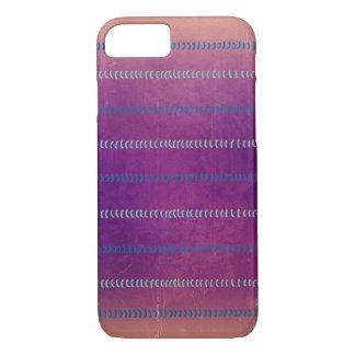 カラフルなすみれ色の織り目加工ラインパターン場合 iPhone 7ケース