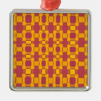 カラフルなぼやけられたチェック模様のパターン メタルオーナメント