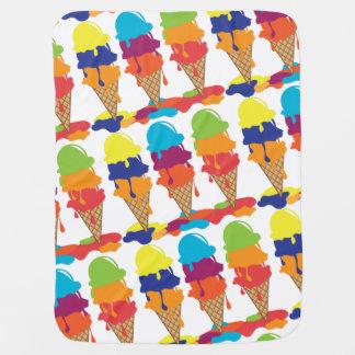 カラフルなアイスクリームのベビーブランケット ベビー ブランケット