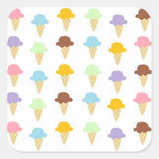 カラフルなアイスクリームコーン スクエアシール