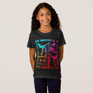 カラフルなアイススケートのテーマの専門用語のタイポグラフィ Tシャツ