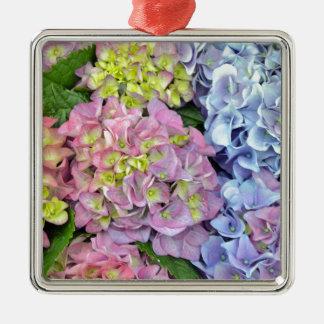 カラフルなアジサイの花 メタルオーナメント