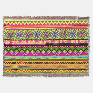 カラフルなアフリカの種族パターン家毛布 スローブランケット