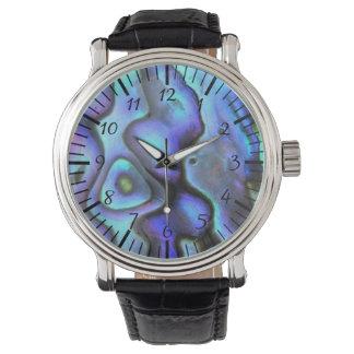 カラフルなアワビの貝殻、美しい自然 腕時計