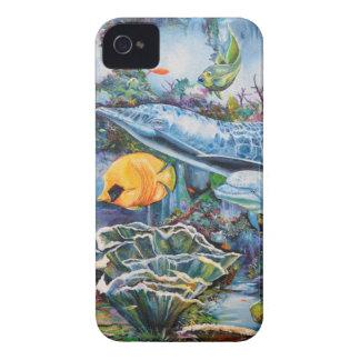 カラフルなイルカおよび熱帯魚 Case-Mate iPhone 4 ケース