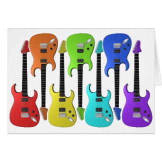 カラフルなエレキギターのメッセージカード カード