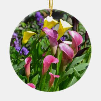 カラフルなオランダカイウユリの花 セラミックオーナメント
