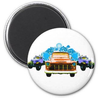 カラフルなオレンジヴィンテージのトラック マグネット