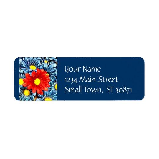 カラフルなオレンジ赤の青いガーベラのデイジーの花 返信用宛名ラベル