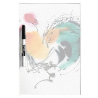 カラフルなオンドリ。 書道および水彩画 ホワイトボード
