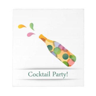 カラフルなカクテルのパーティの招待状カード ノートパッド