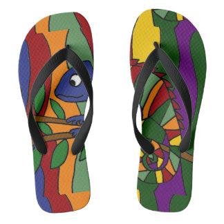 カラフルなカメレオンの抽象美術のビーチサンダル ビーチサンダル