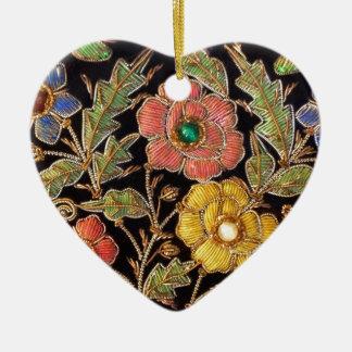 カラフルなガラス玉のヴィンテージの花柄 セラミックオーナメント