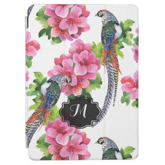 カラフルなキジの鳥及びピンクの花模様 iPad AIR カバー