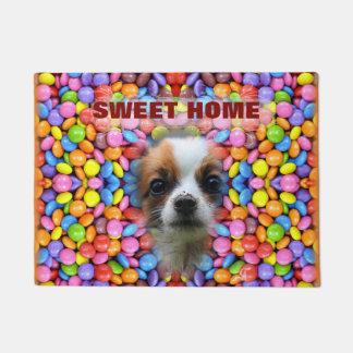 カラフルなキャンデーパターン- Smarties、犬、 ドアマット
