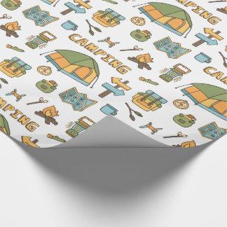 カラフルなキャンプギアパターン包装紙 ラッピングペーパー