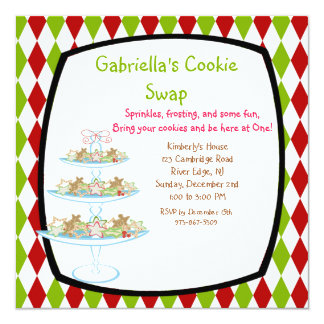 カラフルなクッキーの皿の休日のクッキーの交換の招待 カード