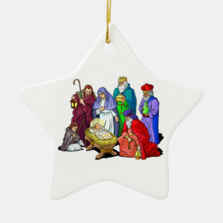 カラフルなクリスマスの出生場面 セラミックオーナメント