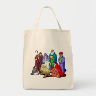 カラフルなクリスマスの出生場面 トートバッグ