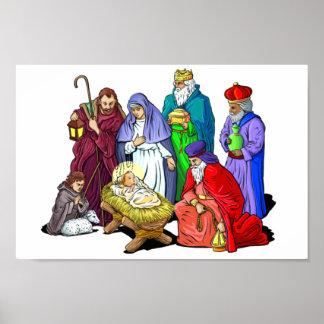 カラフルなクリスマスの出生場面 ポスター