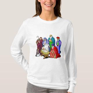 カラフルなクリスマスの出生場面 Tシャツ