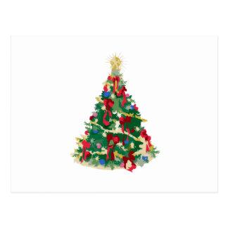 カラフルなクリスマスツリー: ベクトル芸術: ポストカード