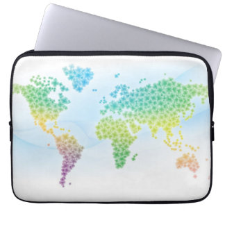 カラフルなクローバーの世界地図 ラップトップスリーブ