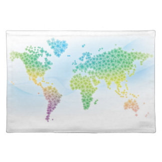 カラフルなクローバーの世界地図 ランチョンマット