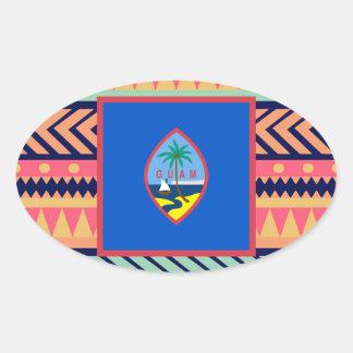 カラフルなグアムの旗箱 楕円形シール