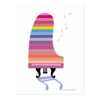 カラフルなグランドピアノ はがき