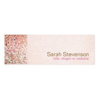 カラフルなグリッターおよび淡いピンクのリネン一見の美しい スキニー名刺
