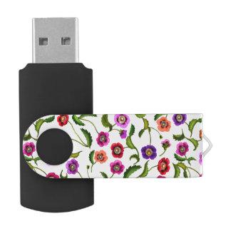 カラフルなケシの庭の花USB 32GBのフラッシュドライブ USBフラッシュドライブ