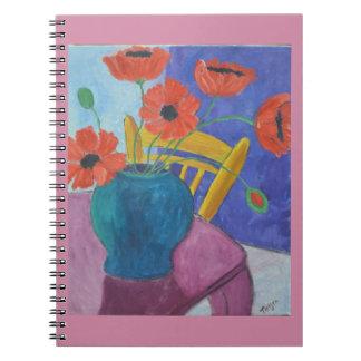 カラフルなケシの絵画 ノートブック