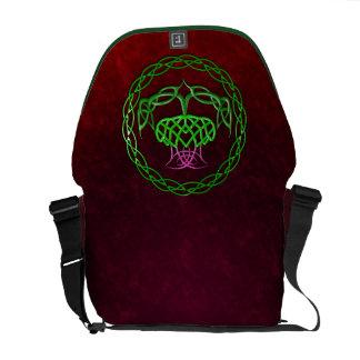カラフルなケルト結び目模様のアザミ メッセンジャーバッグ